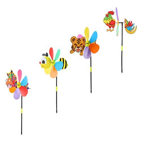 TOYANDONA 4Pcs Hilanderos de Viento de Jardín Animal 3D Mariposa Tigre Pollo Abeja Viento Esculturas Molinetes Decoración Al Aire Libre para Jardín Parque (Estilo Aleatorio)