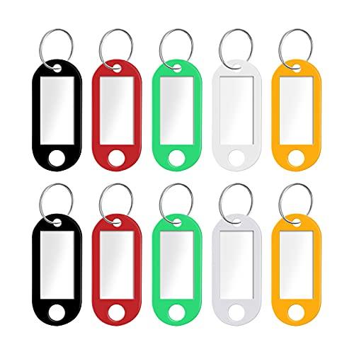 Ealicere 10 Stück Schlüsselanhänger Beschriftbar zum Beschriften, mit Split Ring Label Fenster Auswechselbare Etiketten(Schwarz,Rot,Gelb,Weiß,Grün)