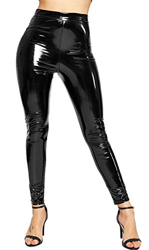 Islander Fashions Ladies Vinyl Shiny Wet Look Disco Legging Mujeres Cintura Alta Party Wear Pantalones XS/XL