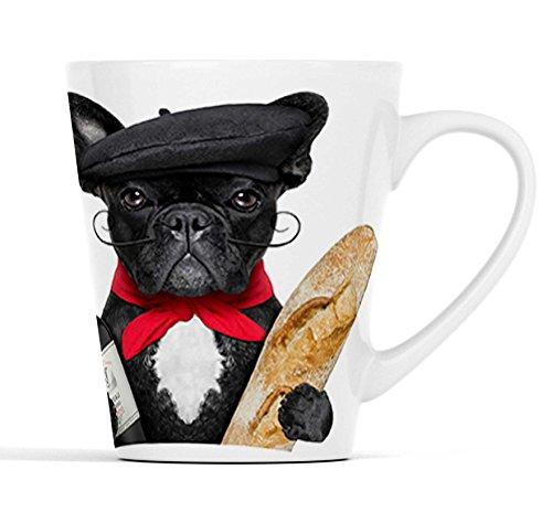 Französische Bulldogge als Franzose mit Baguette |Latte Macchiato Becher Kaffeebecher mit Fotodruck |023
