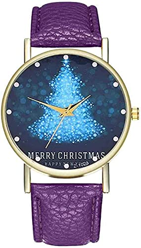 JZDH Mano Reloj Reloj Reloj Mujer Santa Claus patrón Banda de Cuero Reloj de Cuarzo Relojes analógico Relojes de Navidad Relojes Relojes Decorativos Casuales (Color : Morado)