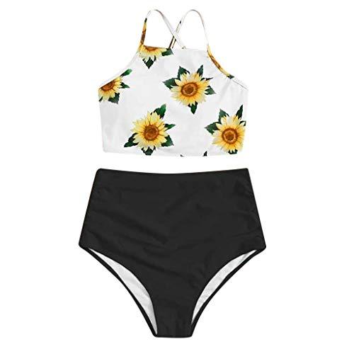 ZYUEER Bikini Damen Push Up Frauen Teenager Mädchen Bikini Set Sommer High Waist Hosen Gepolstert Badeanzug Drucken Mode Bademode Strand Sport Geteiltes Zweiteiliges Set Schwarz M
