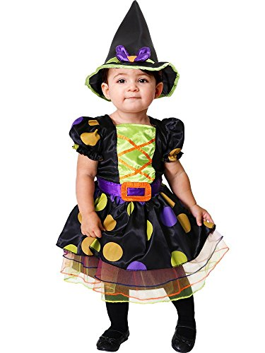 amscan-Little Cute Witch Costume-Age Years-1 Pc Disfraz de bruja pequea  Edad 2-3 aos  1 pieza, multicolor, (PDBW2)