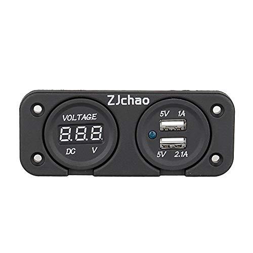 Keenso 2 USB Ladegerätbuchse Digital Voltmeter LED Digitalanzeige Voltmeter