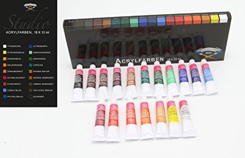Magi Acrylfarben Set mit 36 Tuben bestehend aus 2 Sets je 18 Tuben