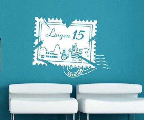 Wandtattoo Skyline Lingen Stadt Stamps Briefmarke Marke Wand Aufkleber Türaufkleber Möbelaufkleber Autoaufkleber Wohnzimmer 5M213, Farbe:Königsblau glanz, Breite vom Motiv:50cm