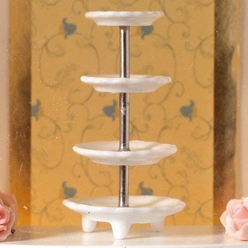 L'Emporium De Maison De Poupées Blanc 4-Tier Stand De Gâteau