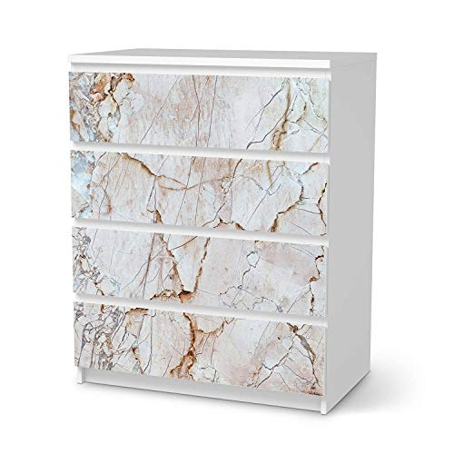 creatisto Möbel Klebefolie passend für IKEA Malm Kommode 4 Schubladen I Möbelsticker - Möbel-Aufkleber Folie Tattoo I Wohndeko für Wohnzimmer und Schlafzimmer - Design: Marmor rosa
