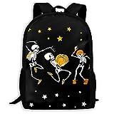 Mochila Escolar Dancing Skull y Esqueletos Musicales Haloween Bookbag Casual Travel Bag para...