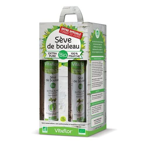 VITAFLOR Sève de bouleau | Extra pure 100% fraîche | Détoxification et Reminéralisation de l'Organisme | Pack 4X250ml | Format 20 jours