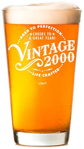 2000 21st Birthday Gifts Men Girls | Birthday Presents Man Woman turning 21 | Funny 21st Party Supplies Decorations Ideas | Twenty One Year Old Bday Beer Glass |21 Years Gag Vintage Pint Dude