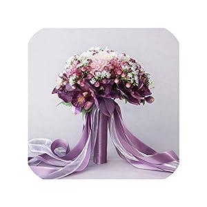 Silk Flower Arrangements Joyfeel-light 3Pc Set Silk Wedding Bouquet Photograph Bridal Bouquet Artificial Hydrangea Iris Rose Wedding Flowers with Berries
