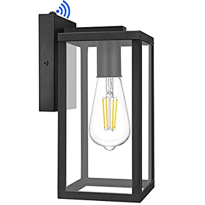 Outdoor Wall Lantern with Dusk to Dawn Sensor, Exterior Waterproof Wall Sconce with Clear Glass Shade, Matte Black Wall Mount Light Fixture Anti-Rust Wall Lamp with E26 Socket for Garage Doorway Porch