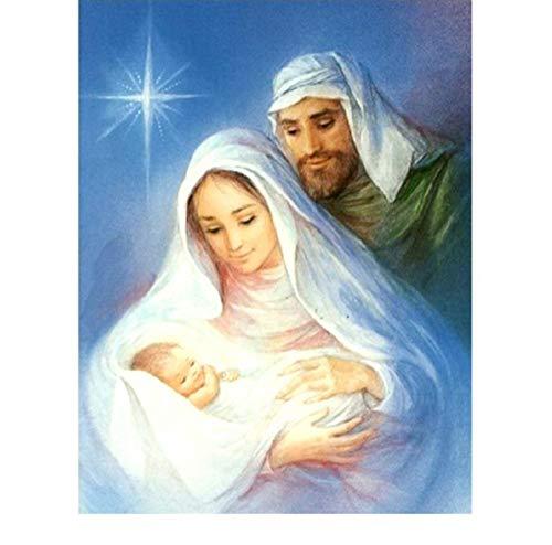5D Diamante Bordado Familia Religiosa Pintura Diamante Mosaico punto de Cruz Jesús y la Virgen María con Decoración de Pared Artesanía 50x60cm