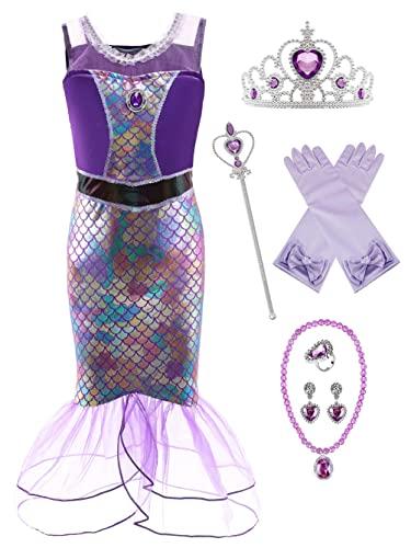 YOSICIL Disfraz Sirenita Nia Vestido de Fiesta Traje Princesa Ariel Cumpleaos Boda Fiesta Cosplay Navidad Carnaval Bautizo con Accesorios 3-10 Aos