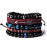WAINIS Braided Leather Bracelets for Men Women Wrap Tiger Eye Lava Rock Beads Bracelet Woven Ethnic Tribal Rope Wristbands Bracelets Set Adjustable C