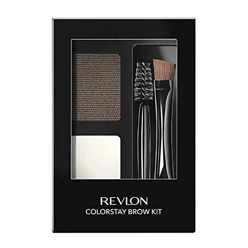 Revlon ColorStay Brow Kit, Includes Longwear Brow Powder, Clear Pomade, Dual-Ended Angled Tip Eyebrow Brush & Spoolie Brush, Dark Brown (102), 0.08 oz