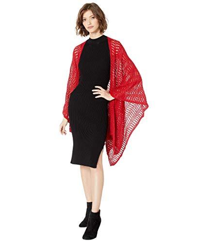 Steve Madden Women's Shimmer Boucle Knit Ruana, Red, One Size