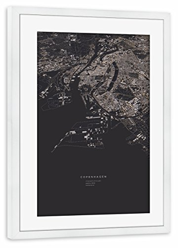 artboxONE Poster mit Rahmen weiß 30x20 cm Copenhagen von maptastix - gerahmtes Poster