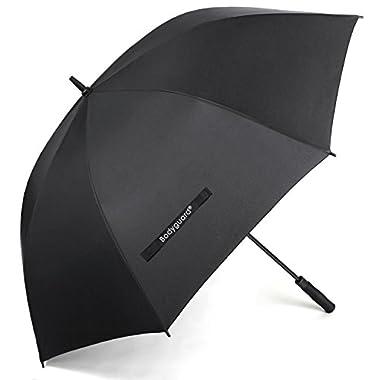 Bodyguard 60 Inch Automatic Open Golf Umbrella - Extra Large Canopy Umbrella 210T Dupont Teflon Coated Super Windproof and Waterproof Umbrella - Black