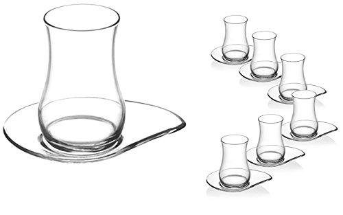 18-teilig LAV Orginal türkisches Tee Set Teeset 'EVA'/ 6 Gläser in klassischer Formgebung (170 ml)/ 6 Untersetzer/ 6 Rührlöffel (Marke PROUD) 18/10 Stahl