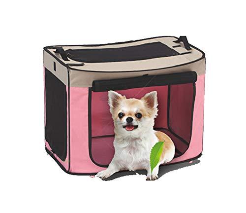 Aida Bz Boîte à air Pet Box Pet Box Fil de Voiture Pliant air Portable Teddy Kennel Extra Large Moyen et Petit Chien Cage,Pink,L