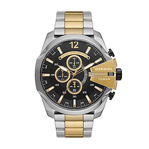 Diesel - Cronógrafo Mega Chief para Hombre, Reloj de Acero Inoxidable de Tres Tonos, DZ4581