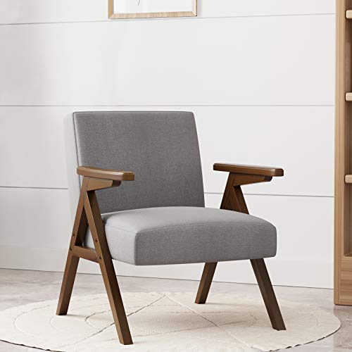 HUIMO Accent Chair & Armchair, Wooden Mid-Century Modern Lounge Chair, Fabric Accent Chairs for Living Room, Bedroom, Elegant Upholstered Reading Chair, Side Chair (Gray)