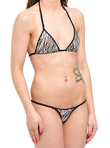 SKINSIX dames bikini set 3-delig, mesh Zebra, bwo180 Top Triangle, bwu130 Mini String & bwu170 Tanga, het origineel