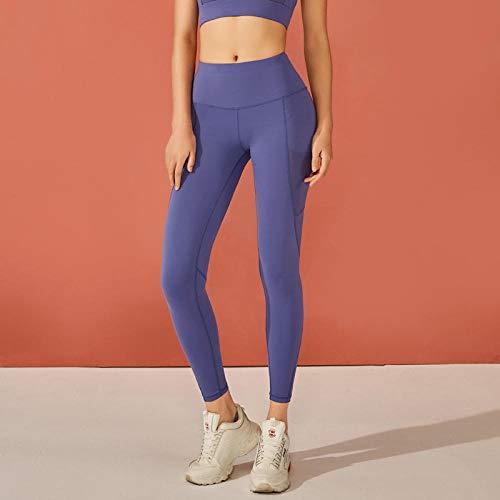 B/H Super Doux Pantalon de Yoga Femme,Pantalon de Yoga serré Fesses Taille Haute pour Femme, Pantalon de Fitness Pieds Sexy-Saphir_S