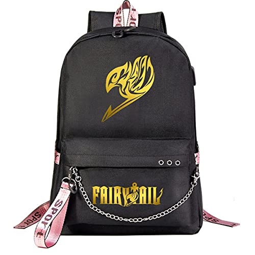 MMNJUVIOSDS Mochilas Fairy Tail Mochila escolar para estudiantes, Mochila de moda informal Ultrafina Impermeable y duradera con cadena USB