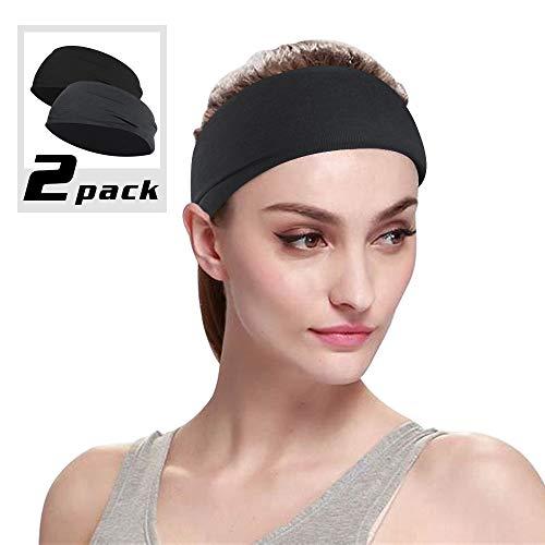 Sport-Stirnband, Stirnband für Sport, Radfahren, Yoga, Gesichtsreinigung, Workout, Unisex, dehnbares Stirnband für Männer und Frauen, 2er-Pack M schwarz / grau