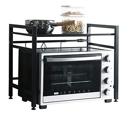 Parrilla para Horno microondas Soporte para Especias de Cocina expandible de Metal de Carga Pesada con 3 Ganchos Repisa para condimentos para tostadora para Horno Estante de Acero al Carbono Negro Ca