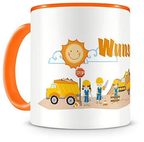 Samunshi® Kindertasse mit Namen Tasse Baustelle Personalisierte Tasse mit Namen Kinder Kinderbecher mit Namen Kindergarten orange 300ml