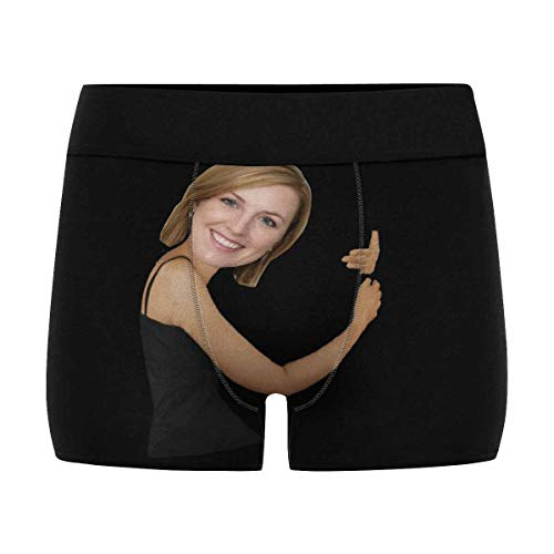 Custom Men Boxers Funny Face Novelty Underwear Girlfriend or Wife Print Briefs Photo for Men Funny Hug Black L