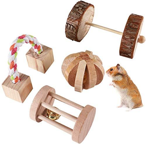 MEWTOGO ハムスターおもちゃ 小動物用おもちゃ 4点セット 噛むおもちゃ 木製 天然 歯磨き 運動不足解消 ストレス解消 ボール ローラー ブロック