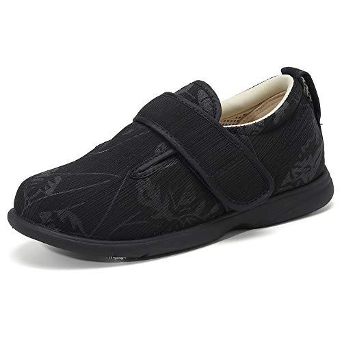 [ZXCP] 介護シューズ 軽量 快適 スニーカー レディース マジックテープ 高齢者シューズ 安全靴 外反母趾 通気性 柔軟性 中高齢者靴 ウォーキングシューズ (23.5cm, 黒)