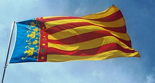 Oedim Pack 5 Banderas de Comunidad Valenciana 85x150cm   Reforzada y con Pespuntes   Bandera de Comunidad Valenciana con 2 Ojales Metálicos y Resistente al Agua