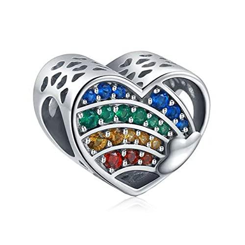 CHUNJ Cuentas Brillantes de circonita de Diamantes de imitación Coloridos Que se adaptan a Pulseras de dijes de Pandora Accesorios de joyería de Moda para Mujer