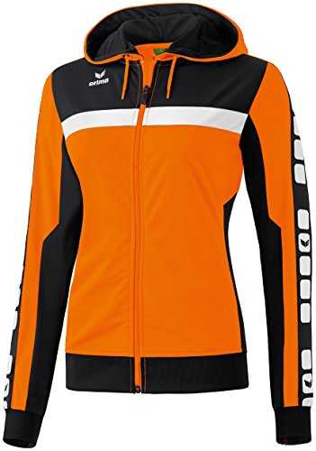 Erima Damen Classic 5-C Trainings Sportsjacke, orange/schwarz/weiß, 36