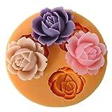 Romote 1 pc Rose Jaune Moule en Silicone de Fleur pour la décoration de Biscuits au Chocolat gâteau Fondant Savon fimo résine en pâte polymère