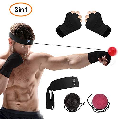 WLMall Bola Boxeo Reflejo, 2 Reflex Ball + Vendas de Boxeo (