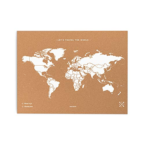 Miss Wood Map L, Mapa del Mundo de Corcho, 45 x 60...