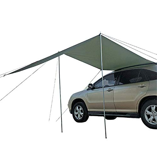 Photo of Car Awning Camping Tent Automobile Rooftop Rain Outdoor Canopy Waterproof Portable Aluminum Pole Anti-UV Sun Protection Waterproof Roof Tarp Poles Sun Shelters For Self-driving Camping Hiking Travel