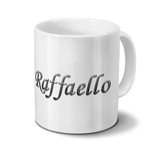 Tasse mit Namen Raffaello - Motiv Chrom-Schriftzug - Namenstasse, Kaffeebecher, Mug, Becher, Kaffeetasse - Farbe Weiß