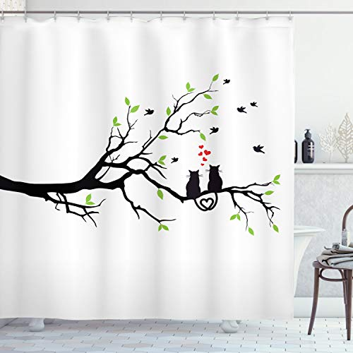 """Ambesonne Cat Lover Shower Curtain, Cats in Love on Tree Branch with Flying Birds Nature Romance Illustration, Cloth Fabric Bathroom Decor Set with Hooks, 70"""" Long, Lime Green"""