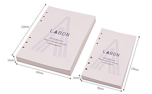 Labon's A6 Refillable Planner Binder Filofax 6 Foro 120 Fogli (240 Pagine) Settimanale Mensile Agenda Quotidiana 2021 2022 Calendario/Telefono & Indirizzo/Personal Memo/Dotted Griglia Free Note