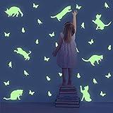 TOARTi Lovely Glow in The Dark Cat Wall Decals, Adorable Butterflies Wall Stickers,Animal Silhouette Wall Art, Luminous Cute Kitty Wall Art for Window Nursery Kids Bedroom Decor(46pcs)