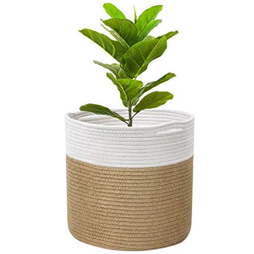 Cestas para Plantas ,decoración de macetas de interior plegable, canasta de lavandería, canasta de almacenamiento para el hogar (Khaki con blanco, 20 x 20 cm)
