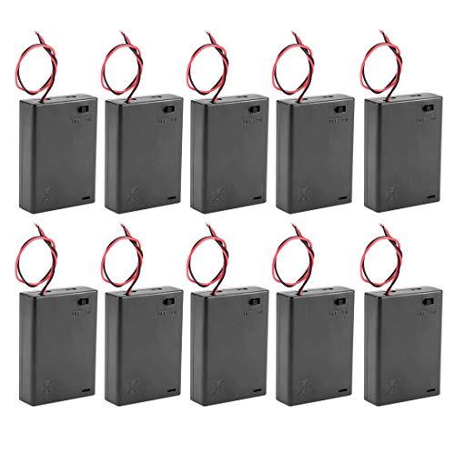 DyniLao - Caja de almacenamiento de 10 piezas de batería de 4,5 V, 3 pilas AA de 1,5 V, interruptor de encendido/apagado con cubierta